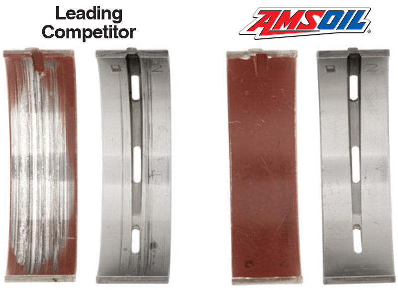Signature Series Delivers Powerful Protection – AMSOIL delivers powerful protection.  How good is it?  An independent lab compared AMSOIL synthetic motor oil head-t-head against a leading competitor in a 100,000-mile test.  AMSOIL provided far superior wear protection and kept bearings looking like new.
